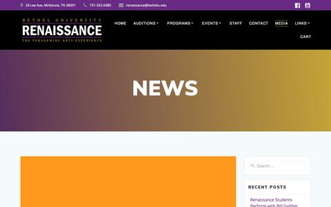 Screenshot of Press Page bethelrenaissance.com - News – Bethel University Renaissance - captured Oct. 24, 2018