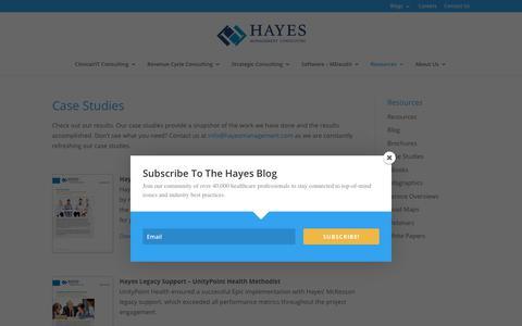 Screenshot of Case Studies Page hayesmanagement.com - Case Studies - Hayes Management Consulting - captured July 22, 2017