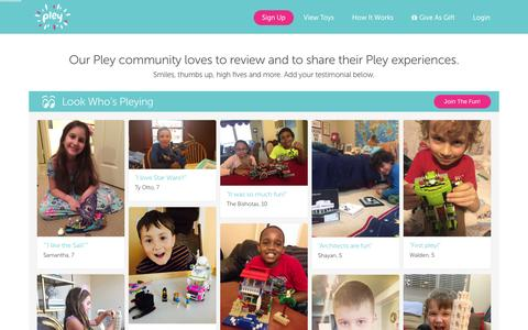 Screenshot of Testimonials Page pley.com - Pley reviews |  Pley | Rent the coolest toys including LEGO®, American Girl and other amazing toys - captured Feb. 11, 2016