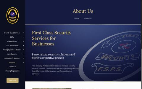 Screenshot of About Page firstsecurity.ca - About Us – First Security Protection Services - captured Oct. 13, 2017
