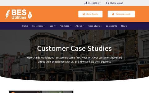 Screenshot of Case Studies Page besutilities.co.uk - Case Studies - BES Utilities - captured Jan. 14, 2020