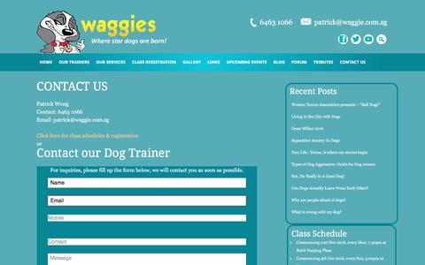 Screenshot of Contact Page waggie.com.sg - CONTACT US - captured Nov. 28, 2016
