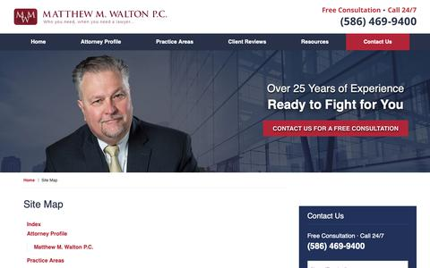 Screenshot of Site Map Page mattwalton.com - Site Map | Macomb County Crime Lawyer Matthew M. Walton - captured Oct. 17, 2018
