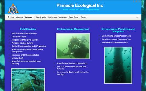 Screenshot of Services Page pinnacleecological.com - Services – Pinnacle Ecological Inc - captured Nov. 6, 2016