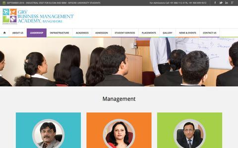 Screenshot of Team Page grvacademy.com - Management - GRV Business Management Academy, Bangalore - captured Oct. 18, 2016