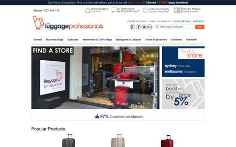 Screenshot of Home Page theluggageprofessionals.com.au - The Luggage Professionals Store | Shop Luggage Online & In-store in Melbourne and Sydney at Most Competitive Prices - captured Sept. 23, 2014
