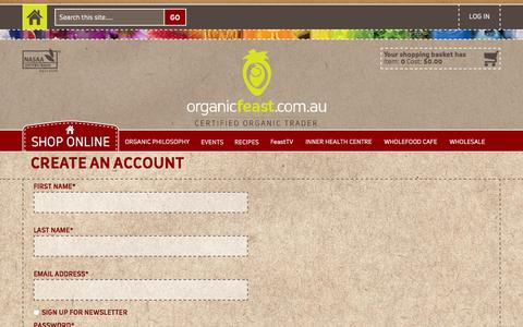 Screenshot of Signup Page organicfeast.com.au - Create New Customer Account Organic Feast - captured March 11, 2016
