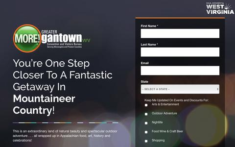 Screenshot of Signup Page tourmorgantown.com - Sign up for the Greater Morgantown newsletter - captured Sept. 19, 2017