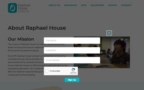 Screenshot of About Page raphaelhouse.org - About Raphael House - Raphael House - captured Sept. 21, 2018