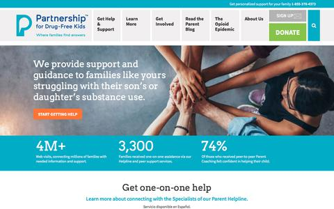 Screenshot of Home Page drugfree.org - Partnership for Drug-Free Kids – Where Families Find Answers - captured Aug. 7, 2018