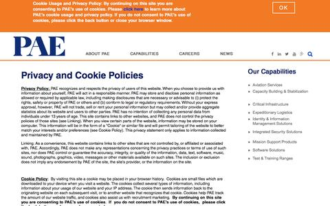 Screenshot of Privacy Page pae.com - Privacy and Cookie Policies | PAE - captured May 11, 2017
