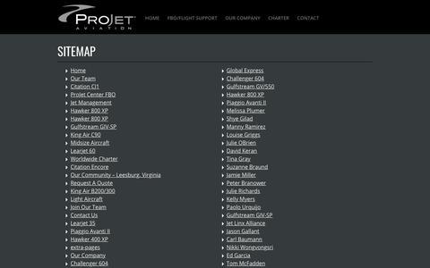 Screenshot of Site Map Page projetaviation.com - Sitemap - ProJet Aviation - captured July 22, 2018