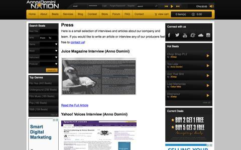 Screenshot of Press Page annodominination.com - Press | Anno Domini Nation - captured Sept. 19, 2014