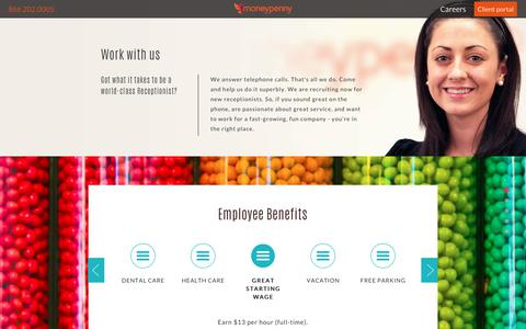 Screenshot of Jobs Page moneypenny.com - Work With Us - Moneypenny us - captured Nov. 22, 2017