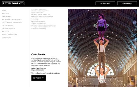 Screenshot of Case Studies Page peterrowland.com.au - Event Catering Melbourne, Corporate Catering - Peter Rowland - captured Sept. 27, 2018