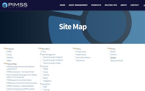 Screenshot of Site Map Page pimss.com - PIMSS Data Systems - Sitemap - captured Oct. 20, 2018