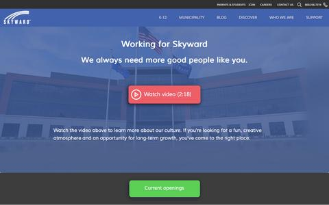 Screenshot of Jobs Page skyward.com - Working for Skyward – A Culture of Teamwork, Enthusiasm, and Continuous Improvement - captured Dec. 3, 2016