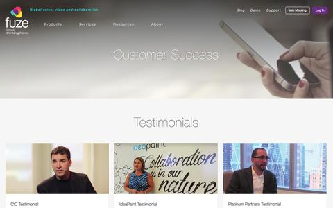 Screenshot of Testimonials Page fuze.com - Customer Success   Fuze - captured March 22, 2016