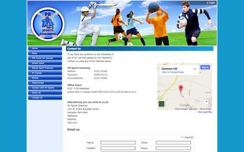 Screenshot of Contact Page phsportscoaching.co.uk - Contact Us - captured Sept. 27, 2014
