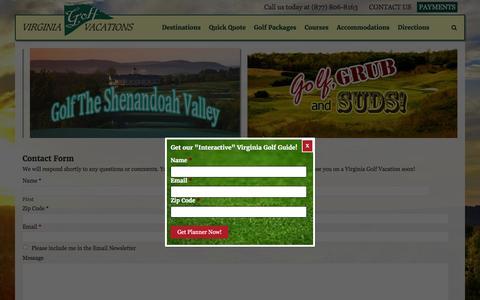 Screenshot of Contact Page virginiagolfvacations.com - Contact Us | Virginia Golf Vacations - captured April 2, 2016