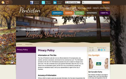Screenshot of Privacy Page penticton.ca - Privacy Policy   City of Penticton - captured Nov. 8, 2018