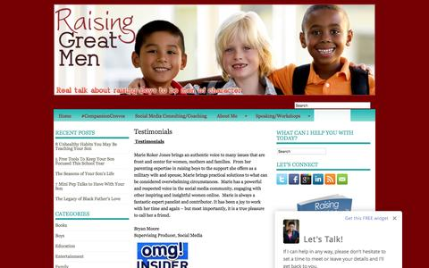 Screenshot of Testimonials Page raisinggreatmen.com - Testimonials | Raising Great Men™ - captured Nov. 29, 2016