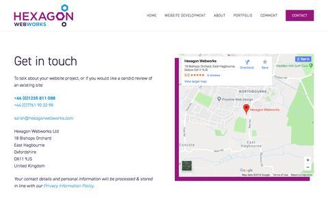 Screenshot of Contact Page hexagonwebworks.com - Contact - Hexagon Webworks - captured July 19, 2018