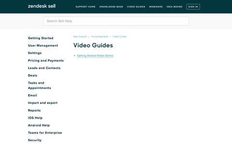 Screenshot of Support Page getbase.com - Video Guides – Base Support - captured Nov. 15, 2018