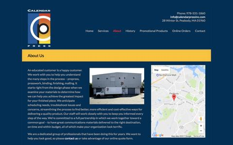 Screenshot of About Page calendarpressinc.com - Calendar Press provides prepress, presswork, binding, finishing, mailing. | Calendar Press - captured May 13, 2017