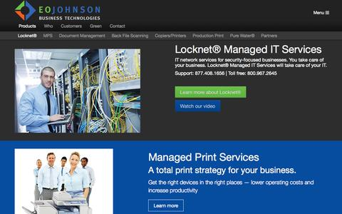 Screenshot of Products Page eojohnson.com - IT, IT services, network services, IT network, computer networks - Wausau, Eau Claire, La Crosse, Rochester, Cedar Falls - captured Oct. 1, 2014