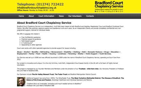Screenshot of About Page bradfordcourtchaplaincy.org.uk - Bradford Court Chaplaincy Service - captured Oct. 5, 2014