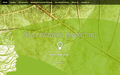 Screenshot of Home Page osa.co.za - Osa creative marketing | Where ideas grow…. - captured Aug. 16, 2015