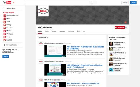 Screenshot of YouTube Page youtube.com - KBCATvideos  - YouTube - captured Nov. 3, 2014