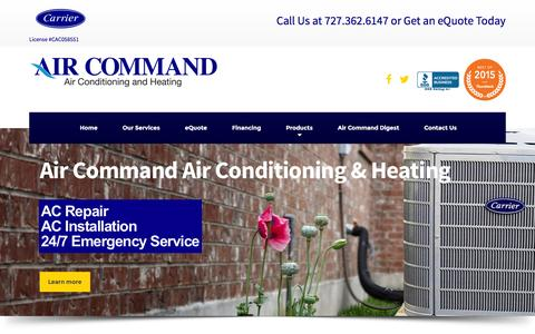 Screenshot of Home Page air-command.com - Air Command - The HVAC Experts of Pinellas County Florida - captured Dec. 24, 2015