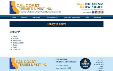 Screenshot of Site Map Page calcoasttermite.com - Pest Control Company | Sitemap - Calcoast Termite Pest Inc - captured Sept. 26, 2018