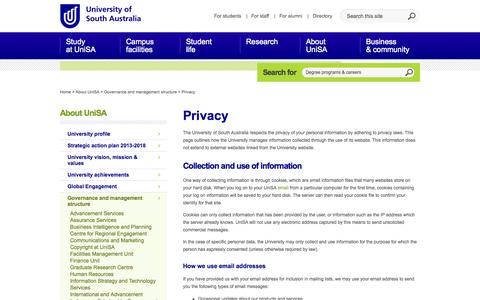 Screenshot of Privacy Page unisa.edu.au - Privacy - About UniSA - University of South Australia - captured Oct. 26, 2014