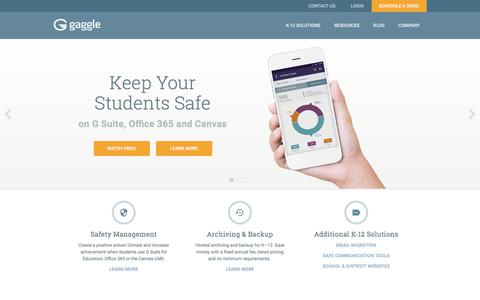 Screenshot of Home Page gaggle.net - Student Safety for K-12 Schools | G Suite | Office 365 | LMS | Gaggle - captured Sept. 28, 2017
