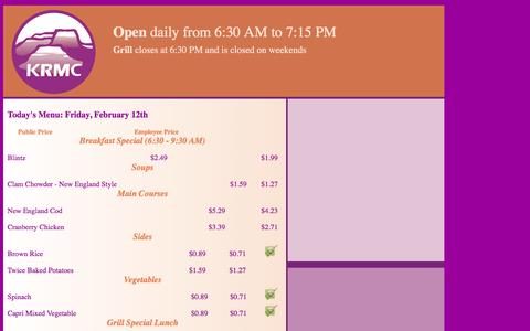 Screenshot of Menu Page azkrmc.com - Cafe Oasis Menu - captured Feb. 12, 2016