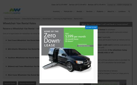 Screenshot of Pricing Page mobilityworks.com - Wheelchair Van Rental Rates - MobilityWorks - captured Oct. 20, 2019