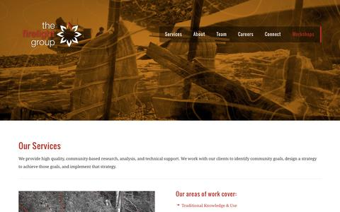 Screenshot of Services Page thefirelightgroup.com - The Firelight Group | Services - captured Oct. 7, 2014