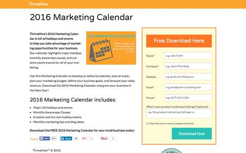 Screenshot of Landing Page thrivehive.com - 2016 Marketing Calendar | ThriveHive - captured March 14, 2016