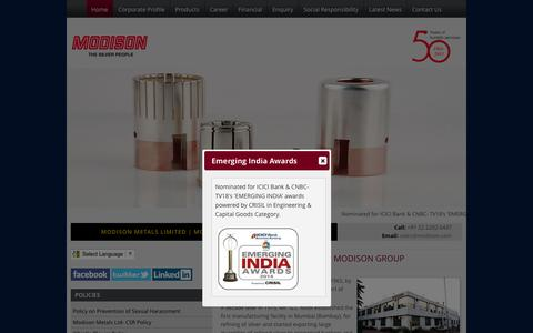 Screenshot of Home Page modison.com - Electrical Contact Manufacturers India | Precious Metal Recovery Companies –Modison.com - captured July 20, 2016