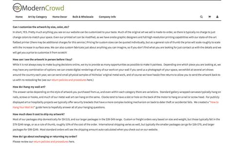 Screenshot of FAQ Page moderncrowd.com - FAQs - Frequently Asked Questions - captured Feb. 22, 2016