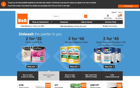 Screenshot of Home Page diy.com - DIY at B&Q - captured Sept. 18, 2014