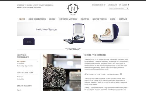 Screenshot of About Page nicolishoes.com - THE COMPANY | High Heels, Ballerina Shoes, Flats, Sandals, Wedding Shoes, Handbags, Purses Online | NicoliShoes.com - captured March 15, 2016