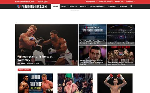 Screenshot of Home Page proboxing-fans.com - Pro Boxing Fans - captured Sept. 23, 2018