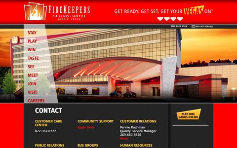 Screenshot of Contact Page firekeeperscasino.com - Contact  | FireKeepers Casino Hotel - captured Oct. 13, 2017