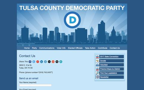 Screenshot of Contact Page tulsacountydemocrats.org - Contact Us - Tulsa County Democratic Party - captured Nov. 3, 2017