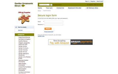 Screenshot of Login Page gardenornamentsdirect.com - Authentication :: Garden Ornaments Direct - captured Sept. 29, 2014