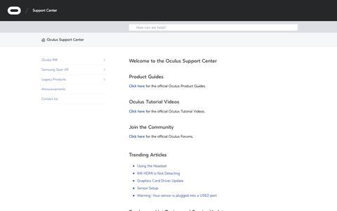 Screenshot of Support Page oculus.com - Oculus Support Center - captured April 14, 2016